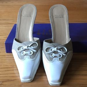 Stuart Weizmann white and beige slide